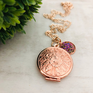 Necklace | Locket with Druzy
