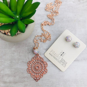 Filigree Diamond Rose Gold Necklace