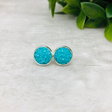 Druzy Earrings / Dome / Blue Aqua Neon