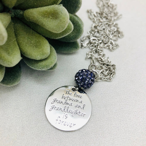 The love between a Grandma and Granddaughter is forever Coin Necklace