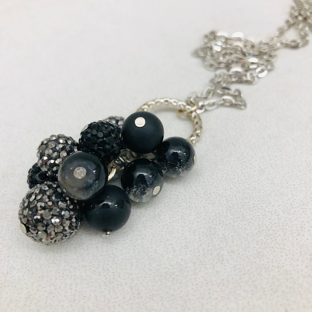 Cluster Necklace - glitterball black and gunmetal