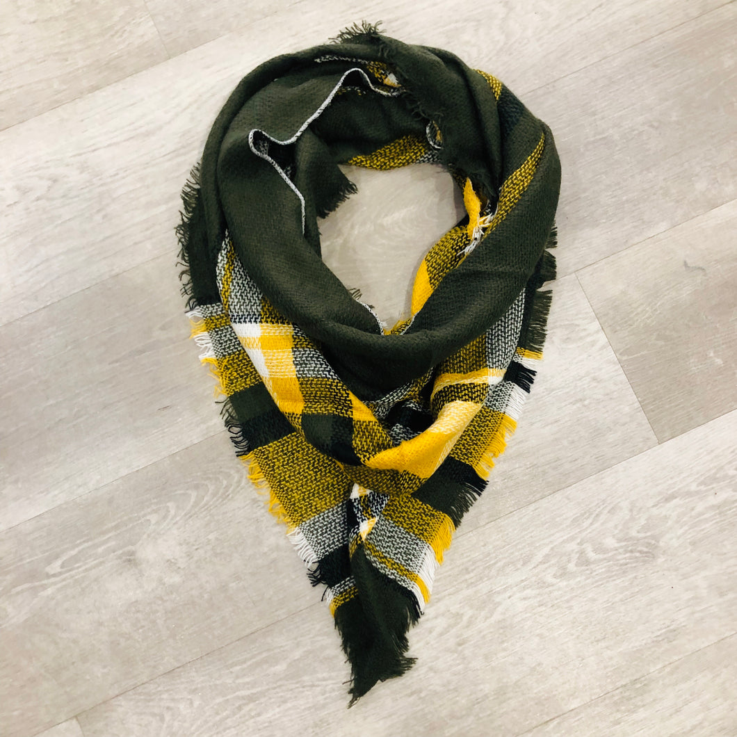 Triangle Blanket Scarf | Green + Yellow