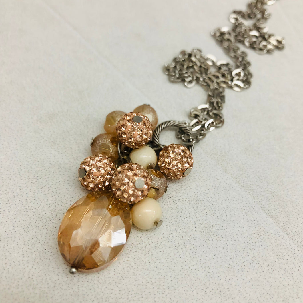 Cluster Necklace - glitterball rose gold champagne