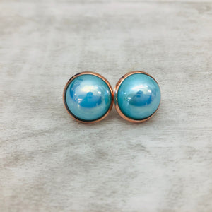 Druzy Earrings | Pearl Aqua 14mm
