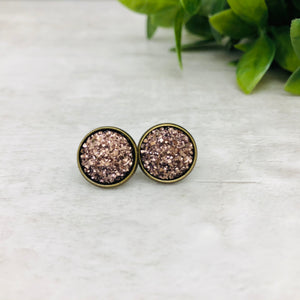 Druzy Earrings / Dome / Rose Gold