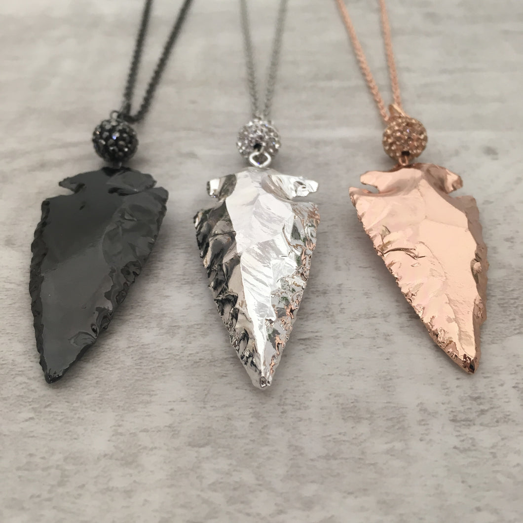Metallic Arrowhead Necklace