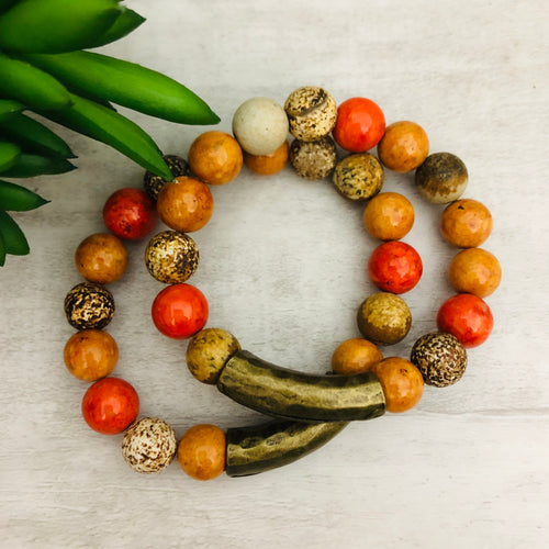 Stone Stacker Bracelet | Mix: Brick, Rust, Coconut
