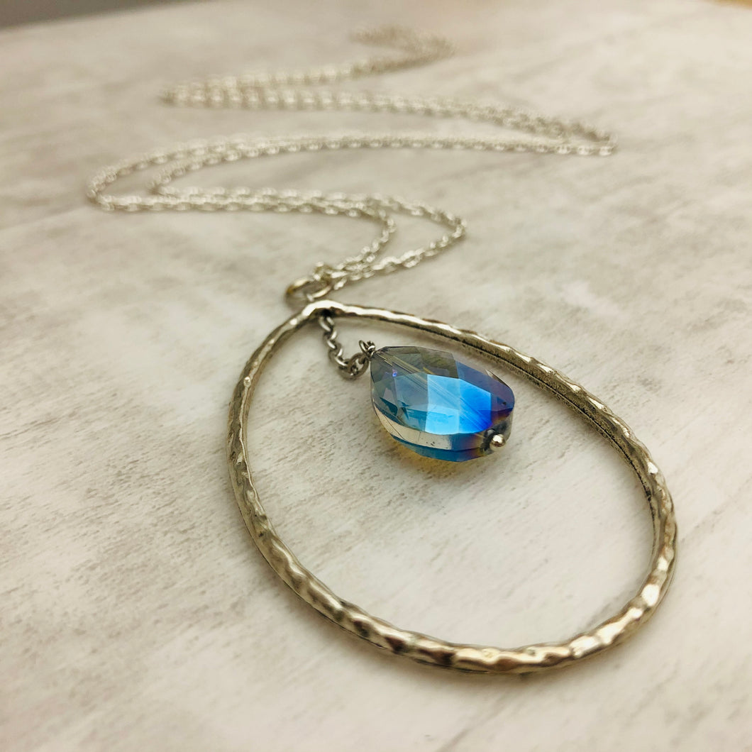 Hollow Tear Drop with Crystal Necklace