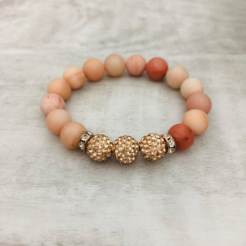 Stacker Bracelet | Peach stone with Rose Gold