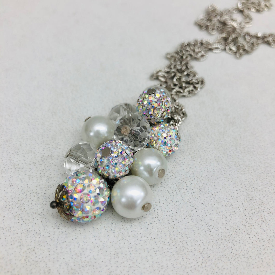 Cluster Necklace - glitterball aurora and pearl