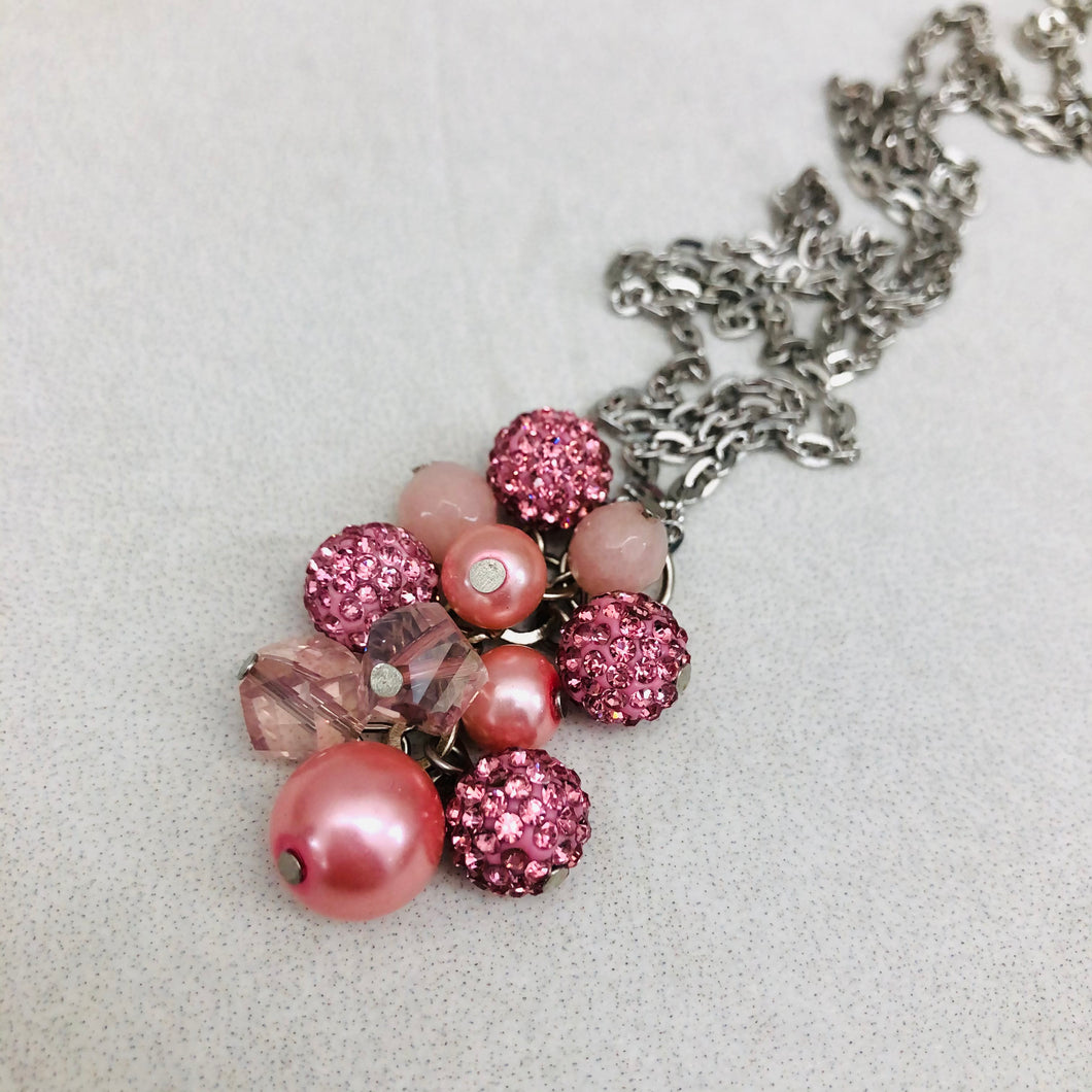 Cluster Necklace - glitterball rose pink and pearl
