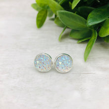 Druzy Earrings / Dome / Aurora Clear