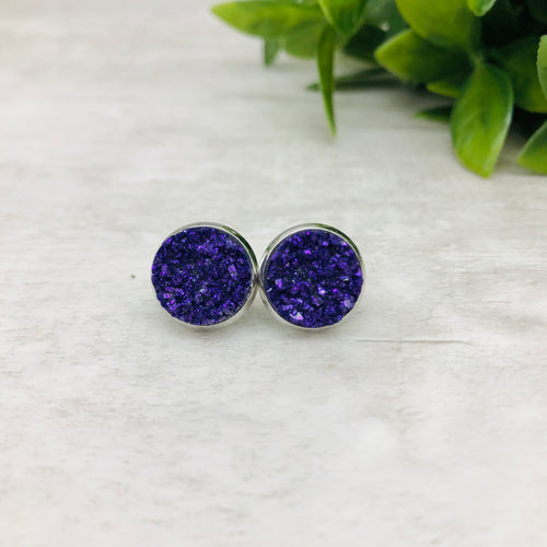 Druzy Earrings / Original / Purple