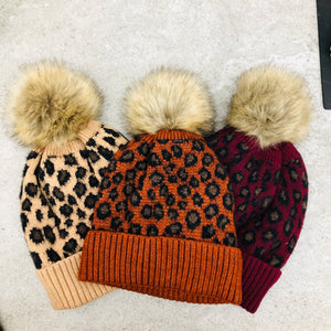 Leopard Print Lined Touque with Removable Pom