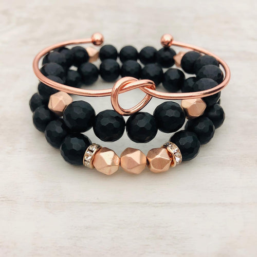 Stone stacker bracelet | Black and matte rose gold