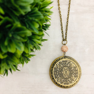 Necklace | Locket Round Large Bronze