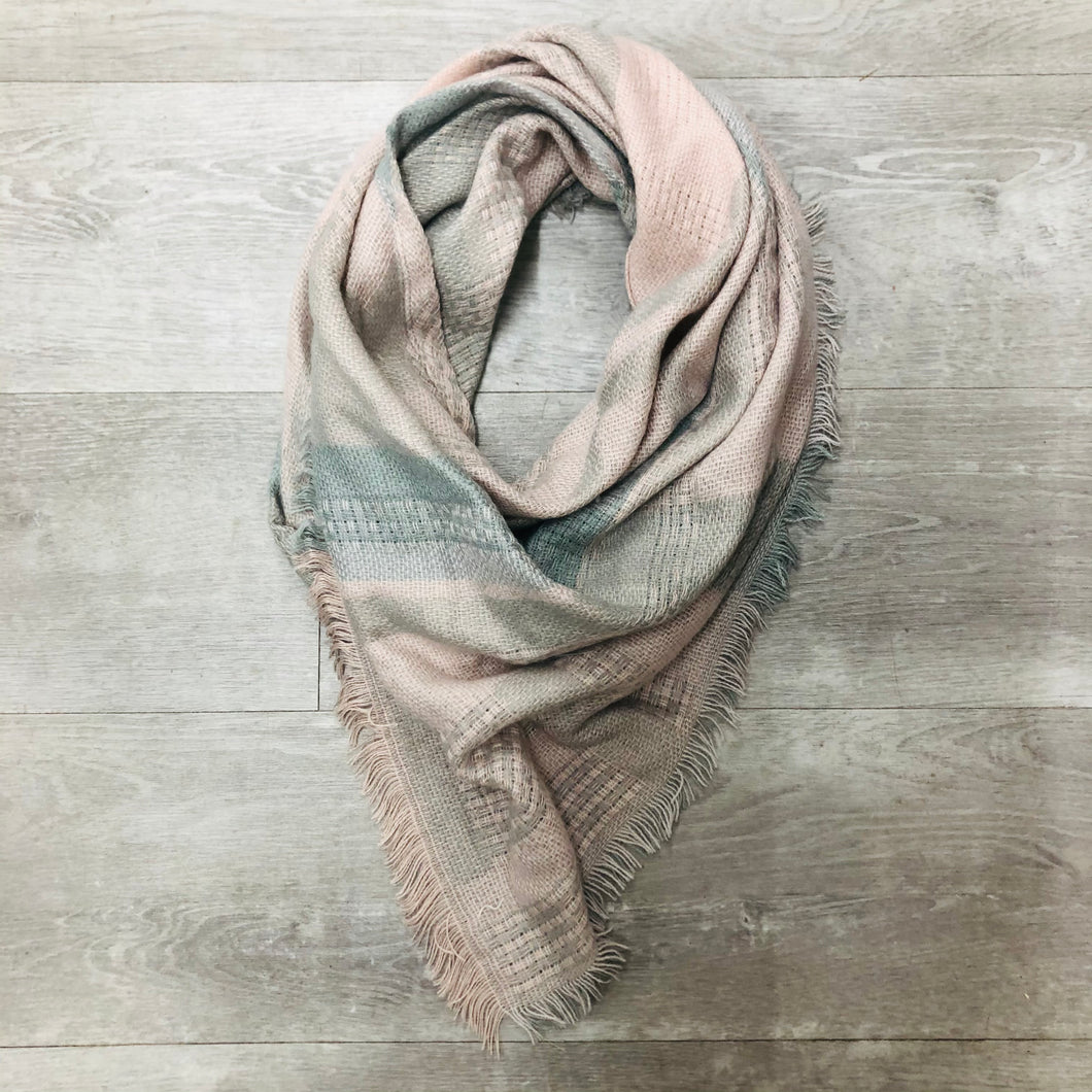 Triangle Blanket Scarf | pink, grey patchwork