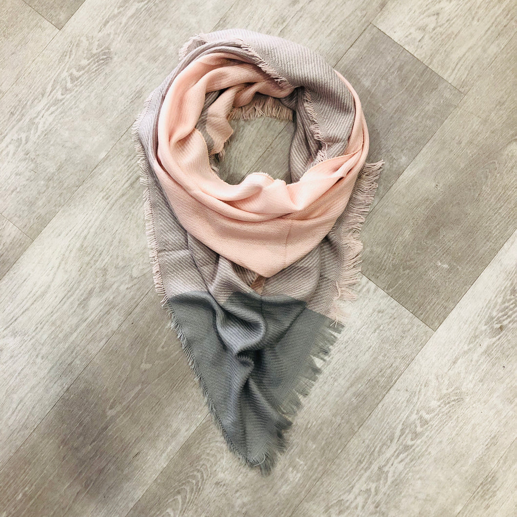 Triangle Blanket Scarf |  Pink + Grey