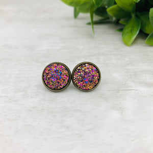 Druzy Earrings / Dome / Strawberry Sunset