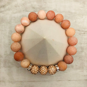 Stone Stacker Bracelet | Peach stone with Rose Gold
