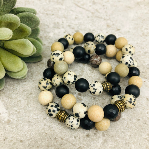 Stone stacker bracelet | Mix: leopard, black, brown