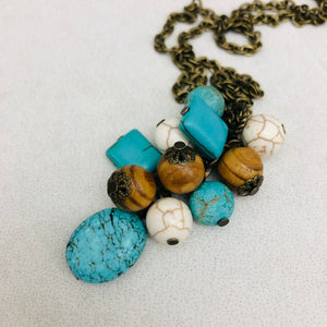 Cluster Necklace - turquoise stone, wood