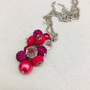 Cluster Necklace - glitterball hot pink and pink pearl