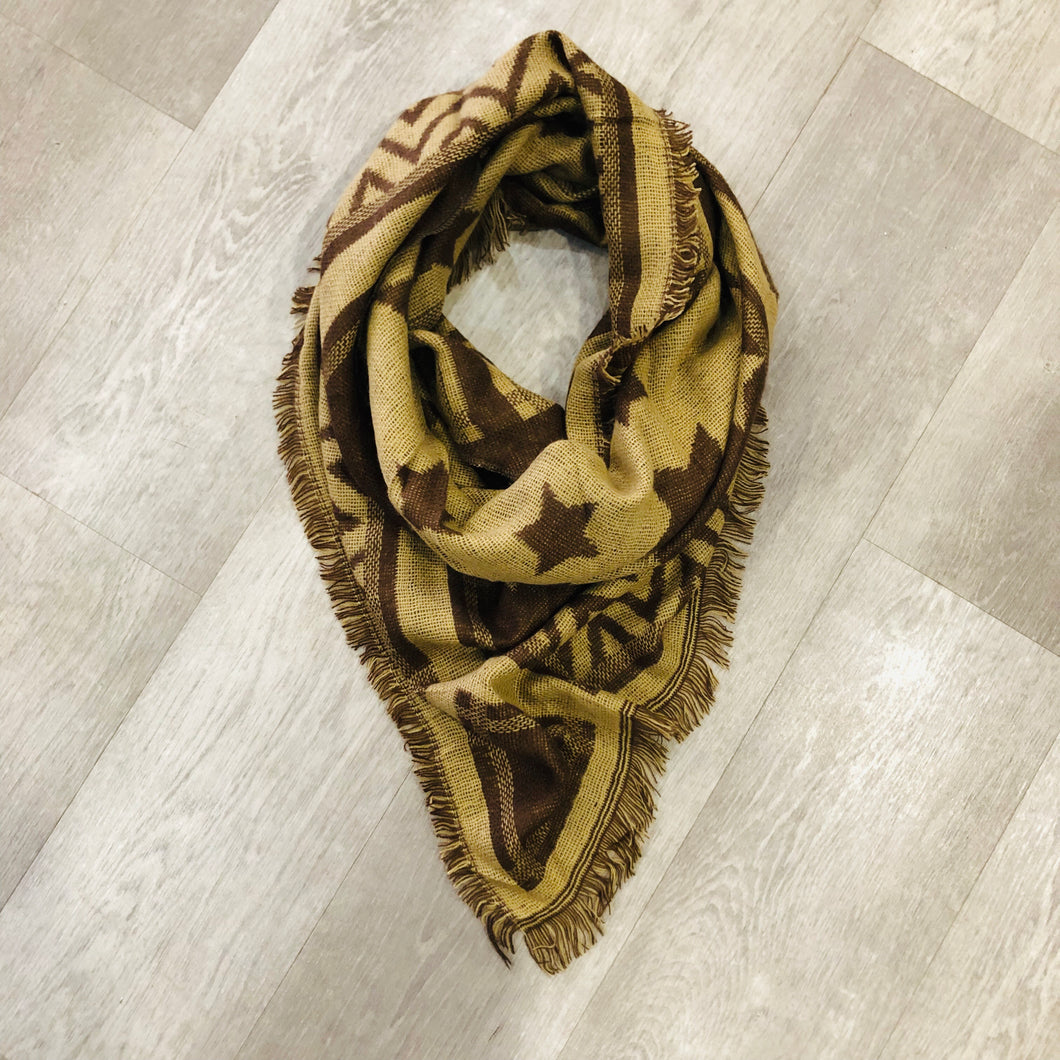 Triangle Blanket Scarf | Western Cowgirl Brown