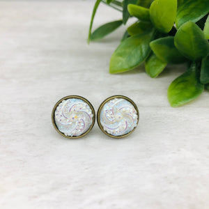 Druzy Earrings / Sugar Cookie / White Aurora
