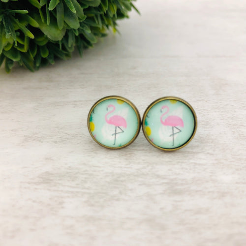 Graphic Earrings | Flamingo Mint