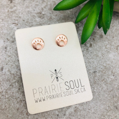 Metal Shape Stud Earring | Paw Circle