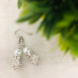 Glitterball Double Stack Dangle Earring - White