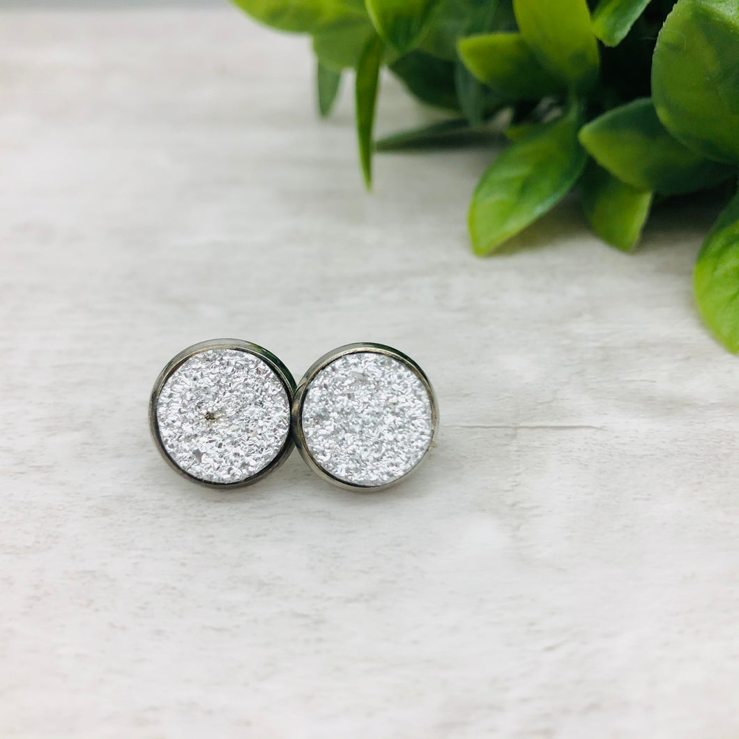 Druzy Earrings / Flat / Silver