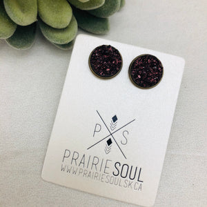 Druzy Earrings | Original - Maroon