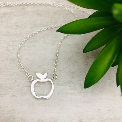 Dainty Necklace | Apple outline