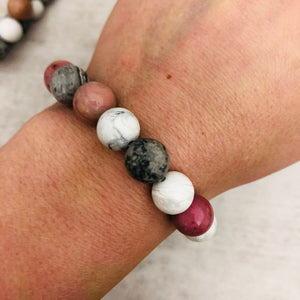 Stone stacker bracelet | Mix: pink, white, grey