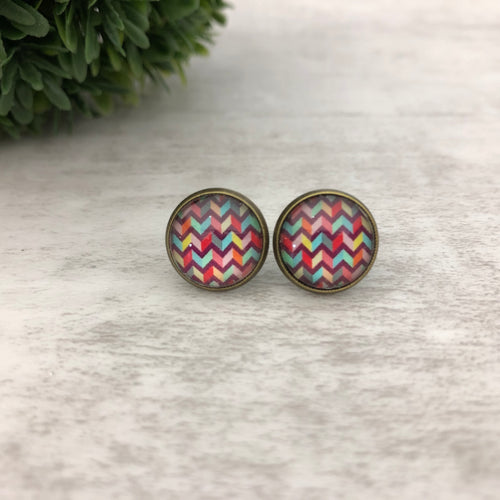 Graphic Earrings | Chevron Colours