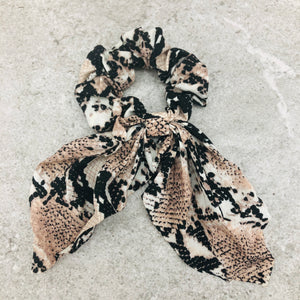 Hair Scrunchie Bow Tails - Animal Print