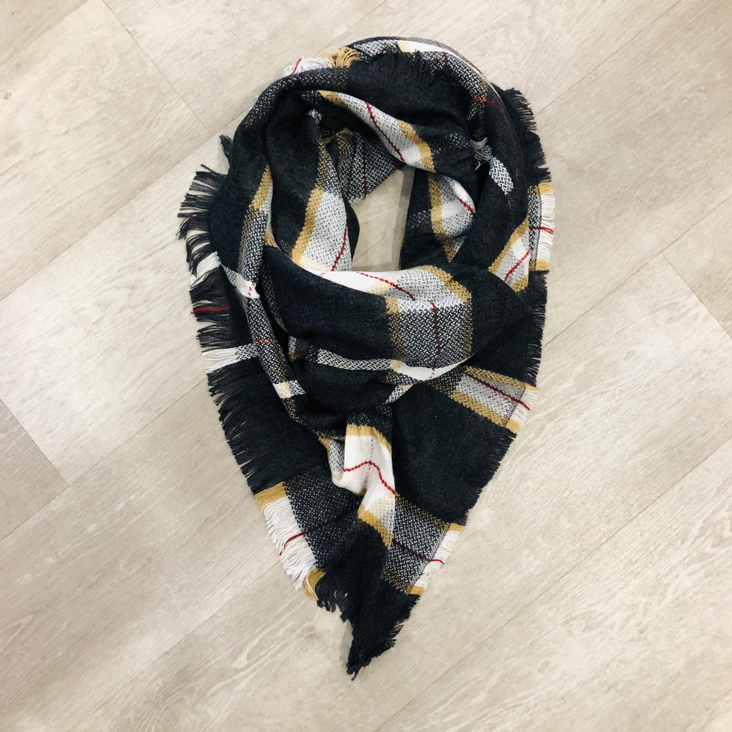 Triangle Blanket Scarf | Black Tan Red Line