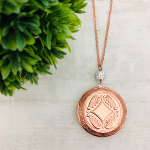 Necklace | Locket Round Large Rose Gold