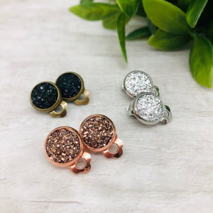 Druzy Earrings / Clip on / For Non Pierced Ears