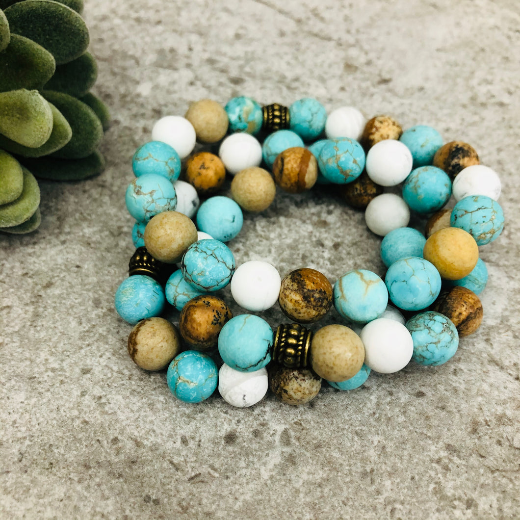 Stone stacker bracelet | Mix: turquoise, white, brown matte