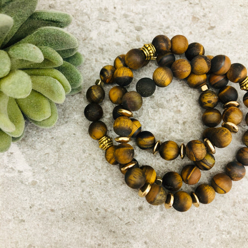 Stone stacker bracelet | Tiger Eye Matte