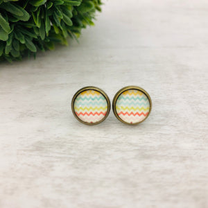 Graphic Earrings | Chevron Rainbow