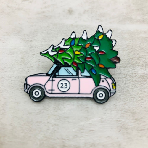 Pin Christmas Tree Car Pink