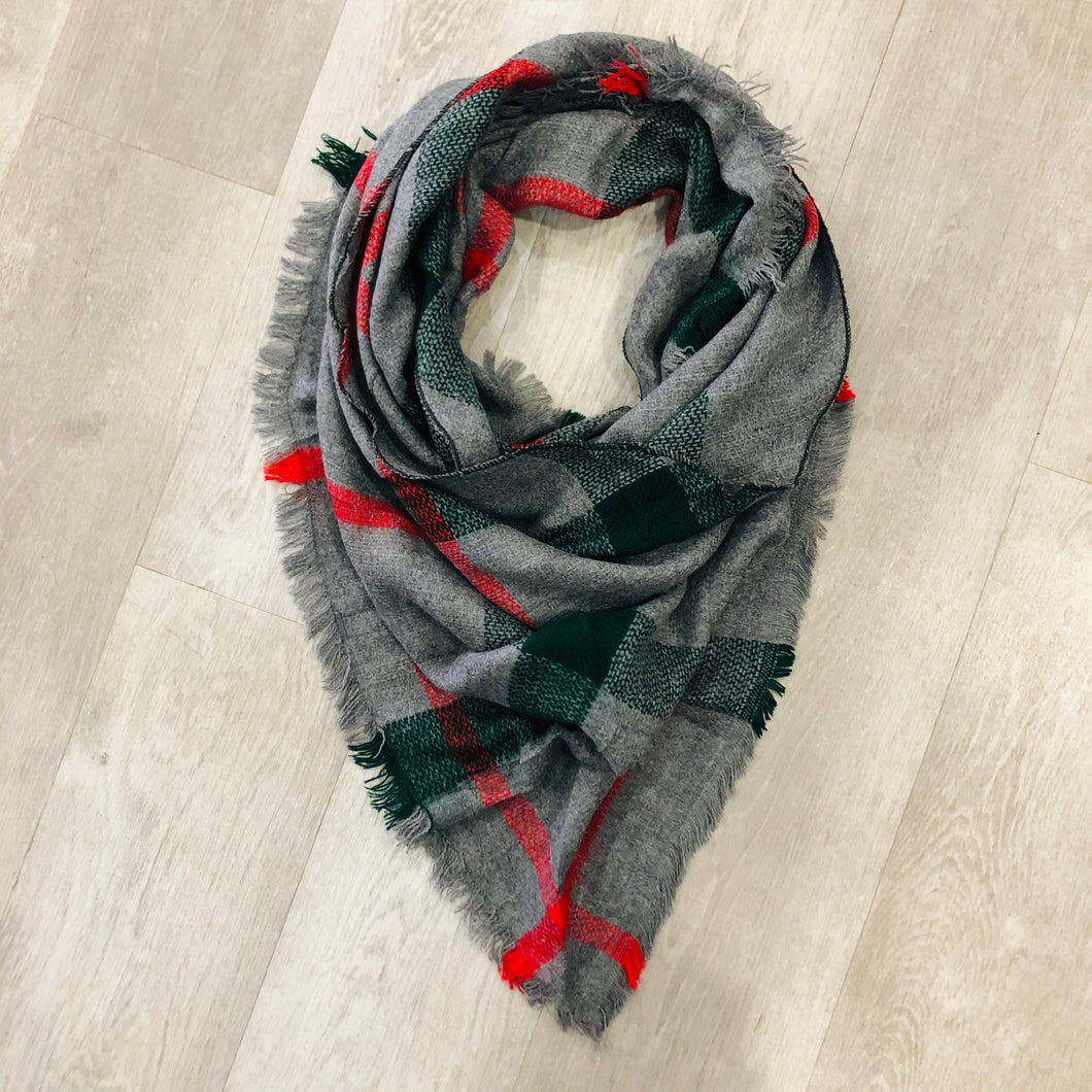 Triangle Blanket Scarf | Grey, Green + Red