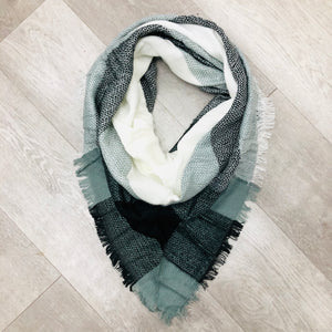 Triangle Blanket Scarf | Black, Grey, White Checkers