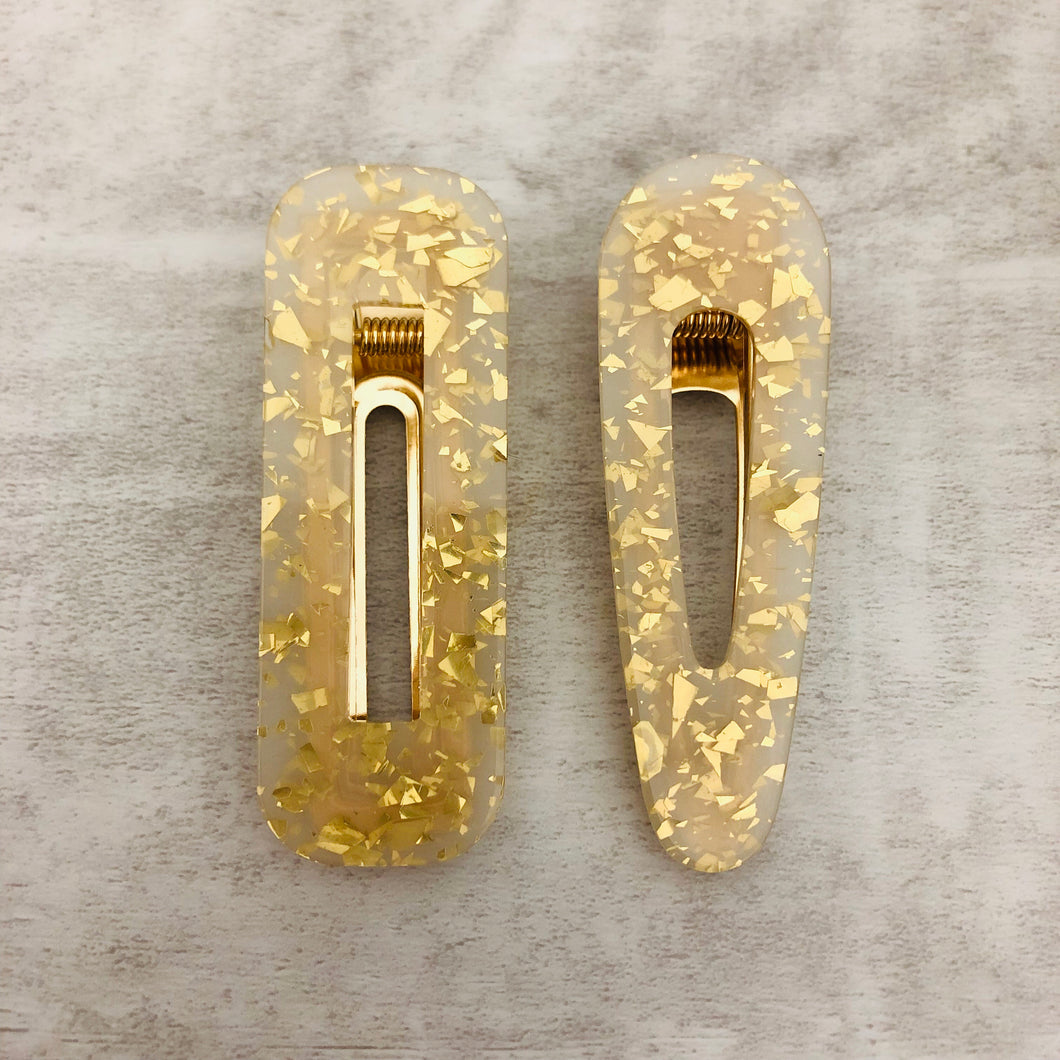 Hair Clip Gold Flakes