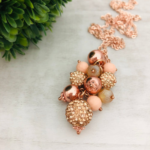 Necklace Cluster | Rose Gold Metallic