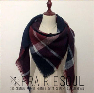 Triangle Blanket Scarf | Navy + Ruby Patchwork